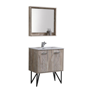 "KubeBath Bosco 30"" Modern Bathroom Vanity w/ Cream Countertop, KB30NW test"