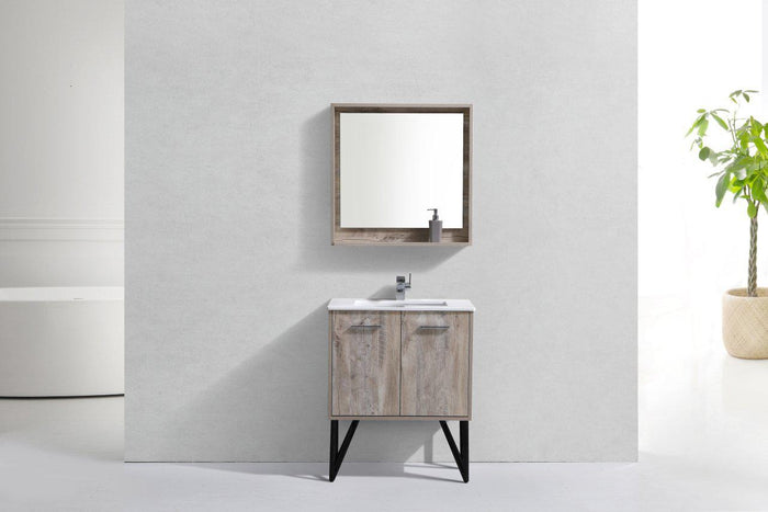 "KubeBath Bosco 30"" Modern Bathroom Vanity w/ Cream Countertop, KB30NW"