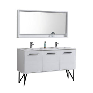 "Bosco 60"" Double Sink Modern Bathroom Vanity w/ Quartz Countertop and Matching Mirror - High Gloss White test"
