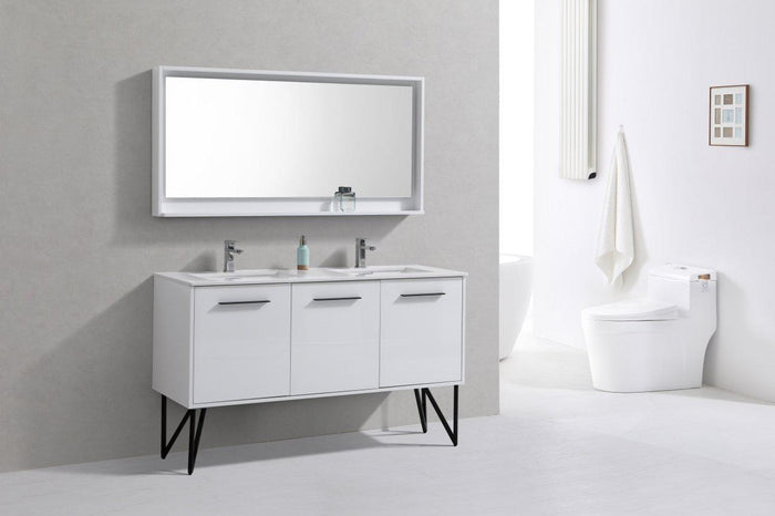 "Bosco 60"" Double Sink Modern Bathroom Vanity w/ Quartz Countertop and Matching Mirror - High Gloss White"