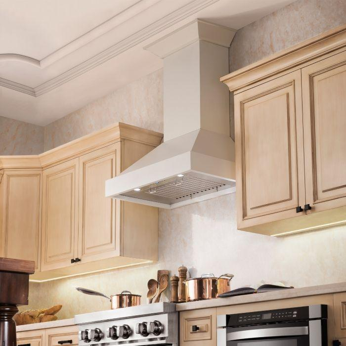 "ZLINE 36"" Wooden Wall Mount Range Hood in White, KBTT-36"
