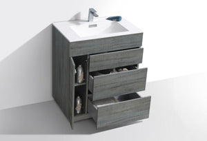 "KubeBath Milano 30"" Ocean Gray Modern Bathroom Vanity, KFM30-BE test"