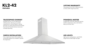 "ZLINE 42"" Convertible Vent Wall Mount Range Hood in Stainless Steel, KL2-42 test"