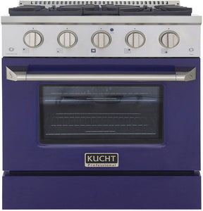 "Kucht Professional 30"" 4.2 cu ft. Natural Gas Range with Blue Door and Silver Knobs, KNG301-B"