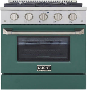 "Kucht Professional 30"" 4.2 cu ft. Natural Gas Range with Green Door and Silver Knobs, KNG301-G"