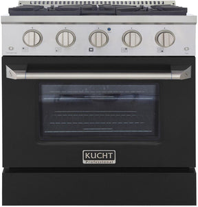 "Kucht Professional 30"" 4.2 cu ft. Natural Gas Range with Black Door and Silver Knobs, KNG301-K"