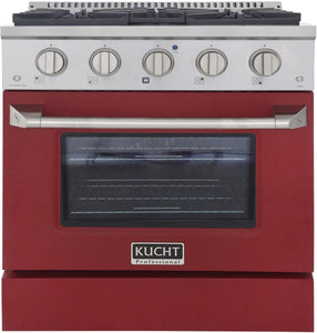 "Kucht Professional 30"" 4.2 cu ft. Natural Gas Range with Red Door and Silver Knobs, KNG301-R"