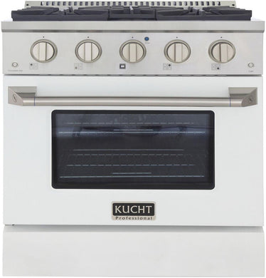 "Kucht Professional 30"" 4.2 cu ft. Natural Gas Range with White Door and Silver Knobs, KNG301-W"