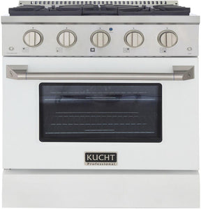 "Kucht Professional 30"" 4.2 cu ft. Propane Gas Range with White Door and Silver Knobs, KNG301/LP-W"