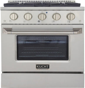 "Kucht Professional 30"" 4.2 cu ft. Natural Gas Range with Silver Knobs, KNG301-S"