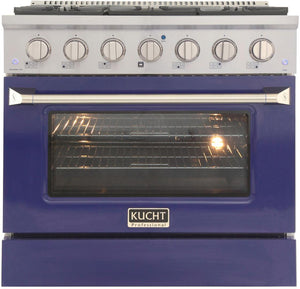 "Kucht Professional 36"" 5.2 cu ft. Natural Gas Range with Blue Door and Silver Knobs, KNG361-B"