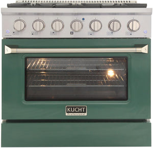 "Kucht Professional 36"" 5.2 cu ft. Natural Gas Range with Green Door and Silver Knobs, KNG361-G"