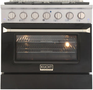 "Kucht Professional 36"" 5.2 cu ft. Natural Gas Range with Black Door and Silver Knobs, KNG361-K"
