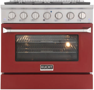 "Kucht Professional 36"" 5.2 cu ft. Natural Gas Range with Red Door and Silver Knobs, KNG361-R"