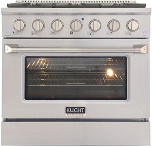 "Kucht Professional 36"" 5.2 cu ft. Propane Gas Range with Silver Knobs, KNG361/LP-S"