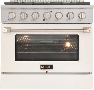 "Kucht Professional 36"" 5.2 cu ft. Natural Gas Range with White Door and Silver Knobs, KNG361-W"