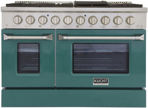 "Kucht Professional 48"" 6.7 cu ft. Propane Gas Range with Green Door and Silver Knobs, KNG481/LP-G"