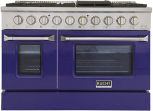 "Kucht Professional 48"" 6.7 cu ft. Natural Gas Range with Blue Door and Silver Knobs, KNG481-B"