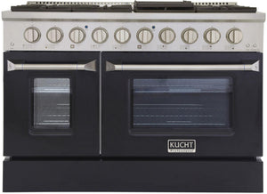 "Kucht Professional 48"" 6.7 cu ft. Propane Gas Range with Black Door and Silver Knobs, KNG481/LP-K"