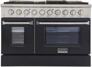 "Kucht Professional 48"" 6.7 cu ft. Natural Gas Range with Black Door and Silver Knobs, KNG481-K"