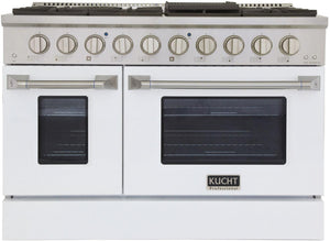 "Kucht Professional 48"" 6.7 cu ft. Natural Gas Range with White Door and Silver Knobs, KNG481-W"