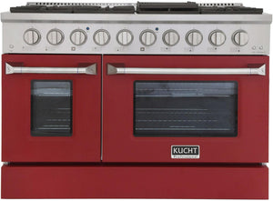 "Kucht Professional 48"" 6.7 cu ft. Natural Gas Range with Red Door and Silver Knobs, KNG481-R"