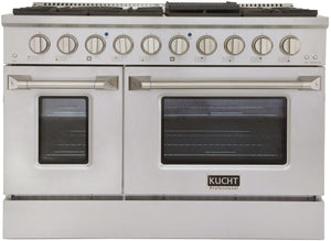 "Kucht Professional 48"" 6.7 cu ft. Natural Gas Range with Silver Knobs, KNG481-S"