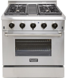 "Kucht Professional 30"" Natural Gas Burner/Electric Oven Range in Stainless Steel with Tuxedo Black Knobs, KRD306F-K"