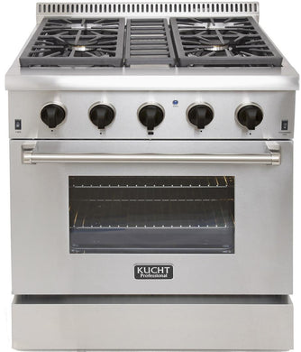 "Kucht Professional 30"" Propane Gas Burner/Electric Oven Range in Stainless Steel with Tuxedo Black Knobs, KRD306F/LP-K"