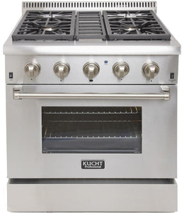 "Kucht Professional 30"" Natural Gas Burner/Electric Oven Range in Stainless Steel with Silver Knobs, KRD306F-S"