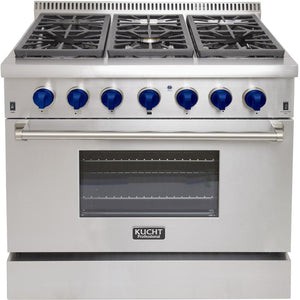 "Kucht Professional 36"" Natural Gas Burner/Electric Oven Range in Stainless Steel with Royal Blue Knobs, KRD366F-B"