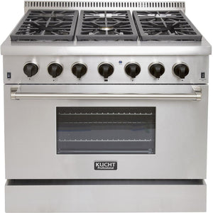 "Kucht Professional 36"" Natural Gas Burner/Electric Oven Range in Stainless Steel with Tuxedo Black Knobs, KRD366F-K"
