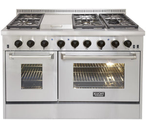 "Kucht Professional 48"" Natural Gas Burner/Electric Oven 6.7 cu ft. Range with Tuexdo Black Knobs, KRD486F-K"