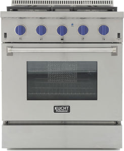 "Kucht Professional 30"" 4.2 cu ft. Natural Gas Range with Royal Blue Knobs, KRG3080U-B"