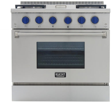 "Kucht Professional 36"" 5.2 cu ft. Natural Gas Range with Griddle and Royal Blue Knobs, KRG3609U-B"