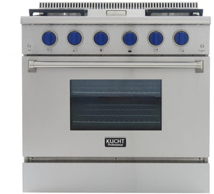 "Kucht Professional 36"" 5.2 cu ft. Propane Gas Range with Griddle and Royal Blue Knobs, KRG3609U/LP-B"