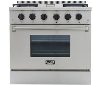 "Kucht Professional 36"" 5.2 cu ft. Natural Gas Range with Griddle and Tuxedo Black Knobs, KRG3609U-K"