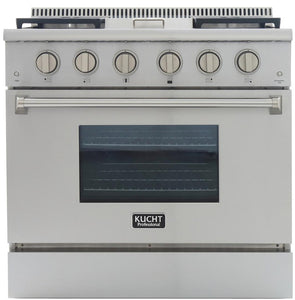 "Kucht Professional 36"" 5.2 cu ft. Natural Gas Range with Griddle and Silver Knobs, KRG3609U-S"