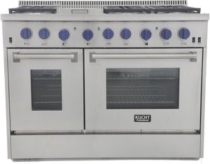"Kucht Professional 48"" 6.7 cu ft. Natural Gas Range with Royal Blue Knobs, KRG4804U-B"