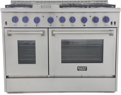 "Kucht Professional 48"" 6.7 cu ft. Propane Gas Range with Royal Blue Knobs, KRG4804U/LP-B"