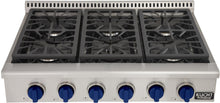 "Kucht Professional Series 36"" Natural Gas Burner Rangetop with Royal Blue Knobs, KRT361GU-B"