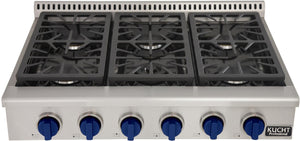 "Kucht Professional Series 36"" Liquid Propane Gas Burner Rangetop with Royal Blue Knobs, KRT361GU/LP-B"
