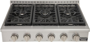 "Kucht Professional Series 36"" Natural Gas Sealed Burner Rangetop with Silver Knobs, KRT361GU-S"