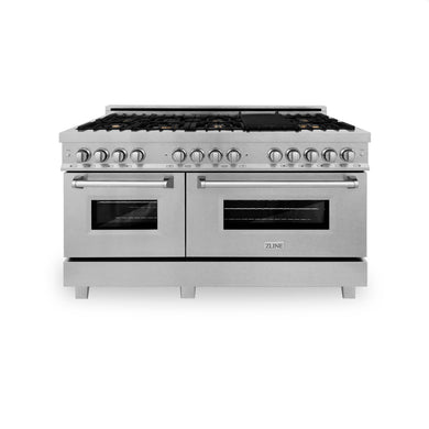 "ZLINE 60"" Professional Gas Burner, 7.6 cu. ft. Electric Oven in DuraSnow® Stainless and Brass Burner Set, RAS-SN-BR-60"