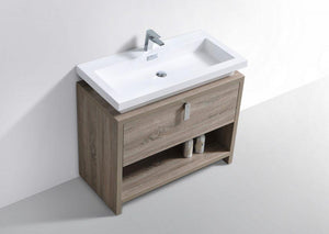 "KubeBath Levi 40"" Modern Bathroom Vanity w/ Cubby Hole - Havana Oak, L1000CO test"