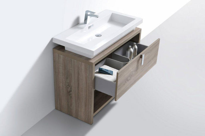 "KubeBath Levi 40"" Modern Bathroom Vanity w/ Cubby Hole - Havana Oak, L1000CO"