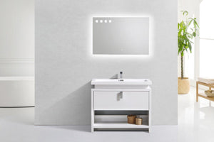 "Levi 40"" Modern Bathroom Vanity w/ Cubby Hole - High Gloss White test"