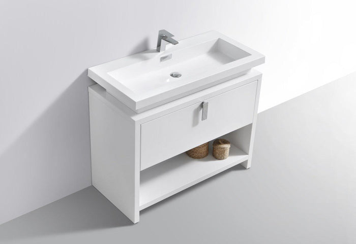 "Levi 40"" Modern Bathroom Vanity w/ Cubby Hole - High Gloss White"
