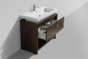 "KubeBath Levi 40"" Modern Bathroom Vanity w/ Cubby Hole - Rose Wood, L1000RW test"