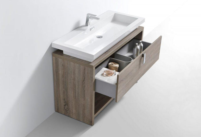 "KubeBath Levi 48"" Modern Bathroom Vanity w/ Cubby Hole - Havana Oak, L1200CO"